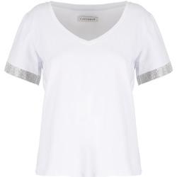 Textil Mulher T-Shirt mangas curtas Café Noir JT6490 Branco