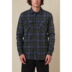 Textil Homem Camisas mangas comprida Globe Chemise  Wanderer Shacket bleu/vert
