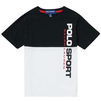 Textil Rapaz T-Shirt mangas curtas Polo Ralph Lauren KAMILA Branco / Preto