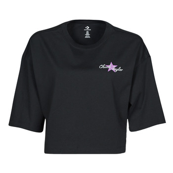 Textil Mulher T-Shirt mangas curtas Converse CHUCK INSPIRED HYBRID FLOWER OVERSIZED CROPPED TEE Preto