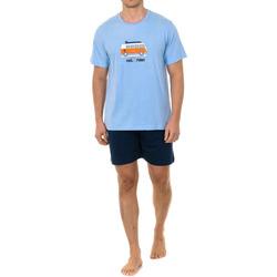 Textil Homem Pijamas / Camisas de dormir Kisses And Love Pijama Kisses & Love M/Corta Azul