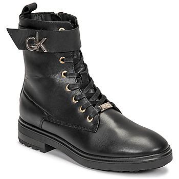 Sapatos Mulher Botins Calvin Klein Jeans CLEAT BIKER BOOT Preto