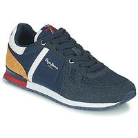 Sapatos Rapaz Sapatilhas Pepe jeans SYDNEY COMBI BOY Marinho / Castanho