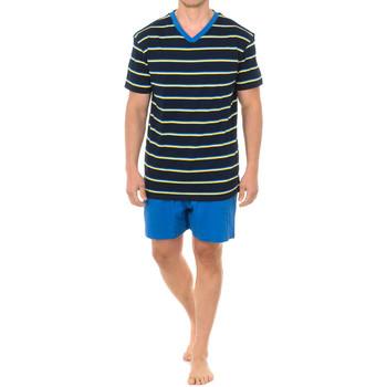 Textil Homem Pijamas / Camisas de dormir J And J Brothers Pijama Manga Corta J&J Brothers Azul