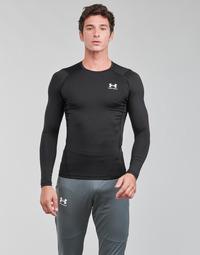 Textil Homem T-shirt mangas compridas Under Armour UA HG ARMOUR COMP LS Preto / Branco