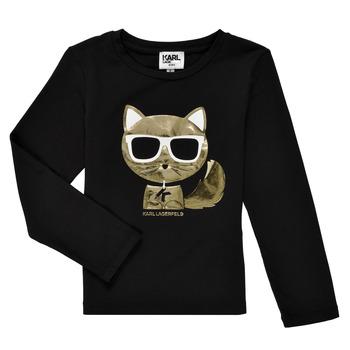 Textil Rapariga T-shirt mangas compridas Karl Lagerfeld AMETHYSTE Preto
