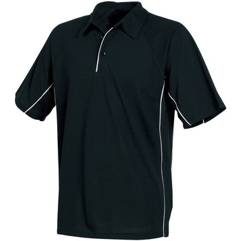 Textil Homem Polos mangas curta Tombo Teamsport TL065 Tubulação preto/preto/branco