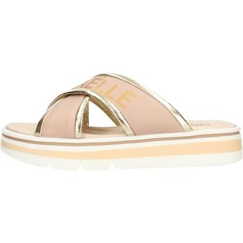 Sapatos Rapaz Chinelos GaËlle Paris - Sandalo rosa/plt G-843 PLATINO-BIANCO