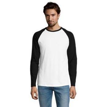 Textil Homem T-shirt mangas compridas Sols FUNKY LSL Blanco Negro Blanco