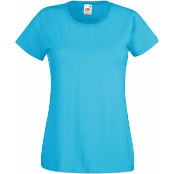 Textil Mulher T-Shirt mangas curtas Fruit Of The Loom 61372 Azul-azul