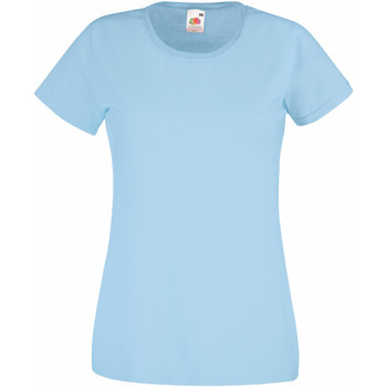 Textil Mulher T-Shirt mangas curtas Fruit Of The Loom 61372 Azul Céu
