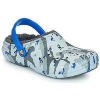 Sapatos Rapaz Tamancos Crocs CLASSIC LINED CAMO CG K Cinza / Azul