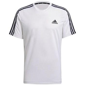 Textil Homem T-Shirt mangas curtas adidas Originals Aeroready Designed TO Move Sport 3STRIPES Tee Branco