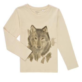 Textil Rapaz T-shirt mangas compridas Name it NMMKEVIN LS TOP Bege