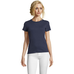 Textil Mulher T-Shirt mangas curtas Sols Camiseta IMPERIAL FIT color French Marino Azul