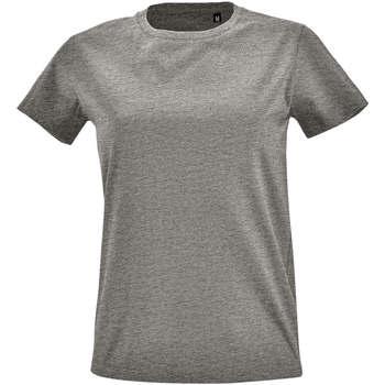 Textil Mulher T-Shirt mangas curtas Sols Camiseta IMPERIAL FIT color Gris mezcla Gris