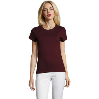 Textil Mulher T-Shirt mangas curtas Sols Camiseta IMPERIAL FIT color Borgoña Burdeo
