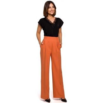 Textil Mulher Calças finas / Sarouels Style S203 Calças de palazzo com cintura elástica - laranja