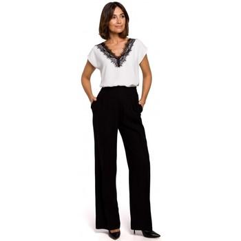 Textil Mulher Tops / Blusas Style S206 Top sem mangas com decote em renda - bege