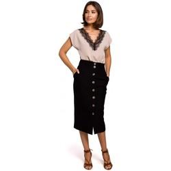 Textil Mulher Tops / Blusas Style S206 Top sem mangas com decote de renda - preto