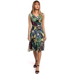 Textil Mulher Vestidos curtos Moe M499 Ajuste de impressão e vestido flare - modelo 2
