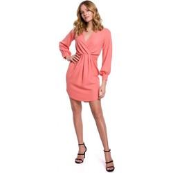 Textil Mulher Vestidos curtos Makover K044 Vestido de turno drapeado - laranja