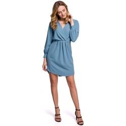 Textil Mulher Vestidos curtos Makover K044 Vestido de turno drapeado - azul celeste