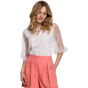 Textil Mulher Tops / Blusas Makover K057 Blusa flocada de polca ponto - branca