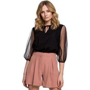 Textil Mulher Tops / Blusas Makover K057 Blusa flocada de polca ponto - preta