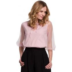 Textil Mulher Tops / Blusas Makover K057 Blusa flocada de polca ponto - crepe rosa