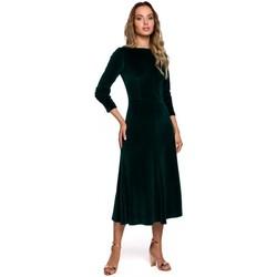 Textil Mulher Vestidos compridos Moe M557 Vestido de Veludo Midi com mangas reunidas - verde