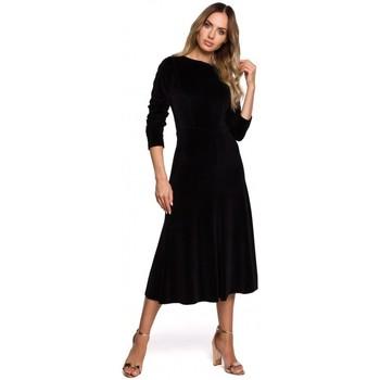 Textil Mulher Vestidos compridos Moe M557 Vestido Midi de Veludo com mangas reunidas - preto