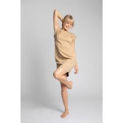 Textil Mulher Vestidos curtos Lalupa LA033 Vestido de Algodão com Costura - cappuccino
