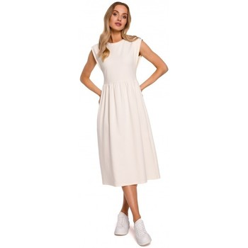 Textil Mulher Vestidos compridos Moe M581 Vestido sem mangas de cintura alta - creme