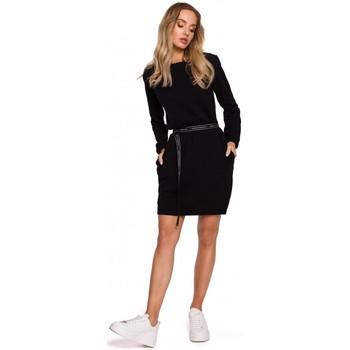 Textil Mulher Vestidos curtos Moe M590 Pullover Dress With Logo Belt - creme