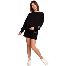Textil Mulher Shorts / Bermudas Be B186 Calções com bordados - preto