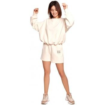 Textil Mulher Shorts / Bermudas Be B186 Calções com bordados - baunilha