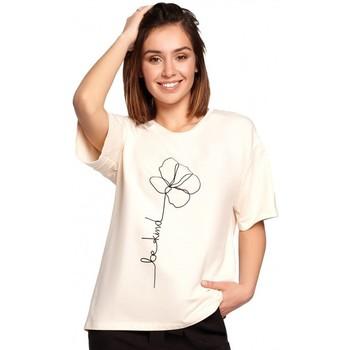 Textil Mulher Tops / Blusas Be B187 T-shirt com estampa de flores - creme