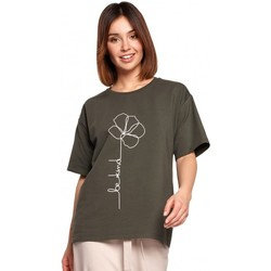 Textil Mulher Tops / Blusas Be B187 T-shirt com estampa de flores - verde militar