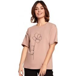 Textil Mulher Tops / Blusas Be B187 T-shirt com estampa de flores - mocca
