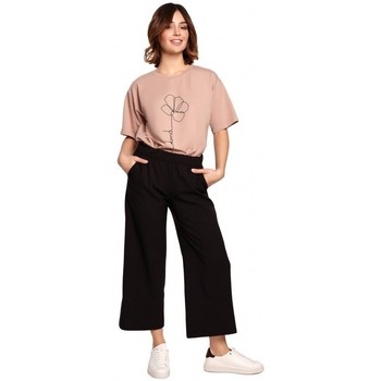 Textil Mulher Calças finas / Sarouels Be B188 Culotes com cintura elasticizada - preto