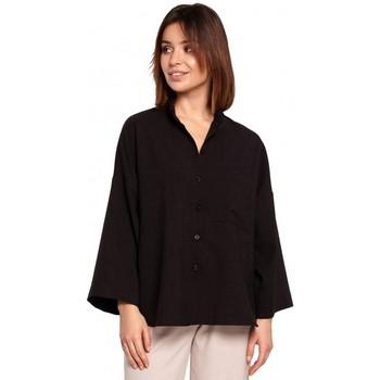 Textil Mulher camisas Be B191 Camisa Sobredimensionada Com Gola A - preto