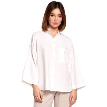 Textil Mulher camisas Be B191 Camisa Sobredimensionada Com Gola A - branca