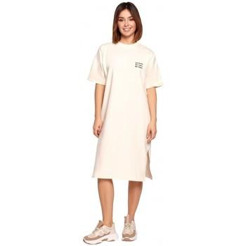 Textil Mulher Vestidos curtos Be B194 Vestido de T-shirt Relaxed Fit - creme