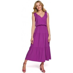 Textil Mulher Vestidos compridos Makover K092 Vestido de tiracolo de ombro - ameixa