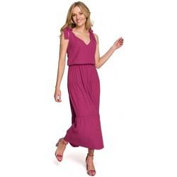Textil Mulher Vestidos compridos Makover K092 Vestido de tiracolo de ombro - azul céu