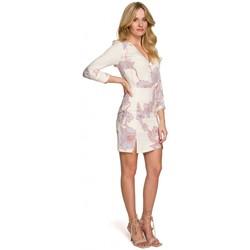 Textil Mulher Vestidos curtos Makover K097 Vestido de patinador com cintura - modelo 1