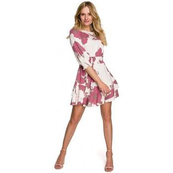 Textil Mulher Vestidos curtos Makover K097 Vestido de patinador com cintura - modelo 2
