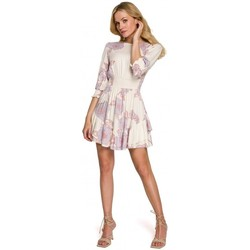 Textil Mulher Vestidos curtos Makover K097 Vestido de patinador com cintura - modelo 3