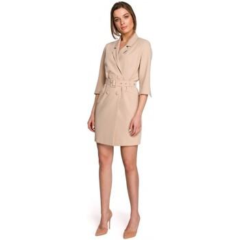 Textil Mulher Vestidos curtos Style S254 Blazer vestido com cinto de fivela - preto